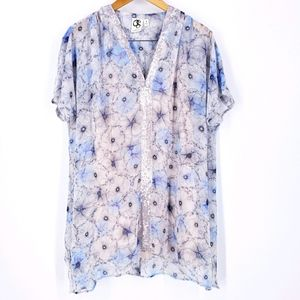 Anthro One September sequin floral tunic